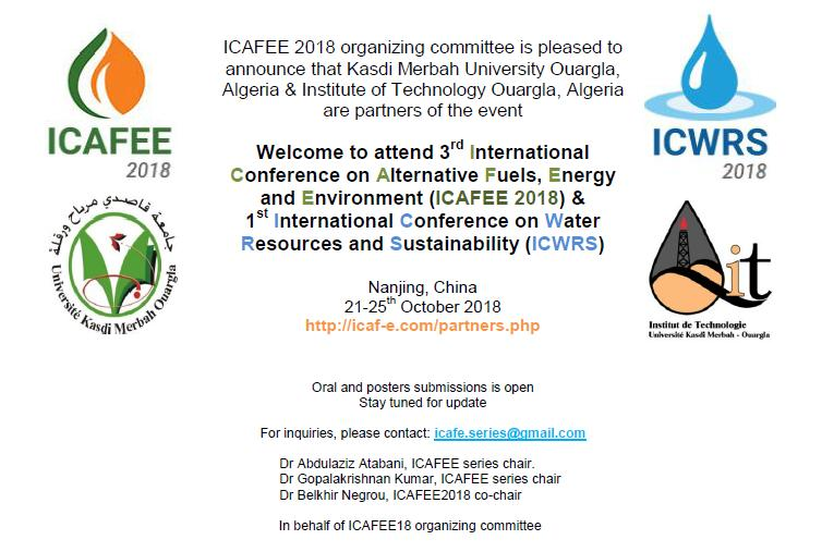 1St International Conférence on Water Resources and Sustainability (ICWRS), & 3rd International Conférence on Alternative Fuels, Energy and Environment (ICAFEE)
